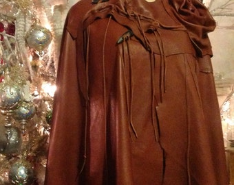 showdiva designs Leather Cape Poncho with Fringe and Sculpted Roses and Vines