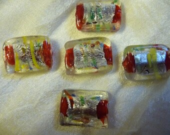 Beads, Murano Glass, Red, Multi Colored, Silver Foil, 20x15x7mm, Rectangle, Loose Beads, Pkg Of 4