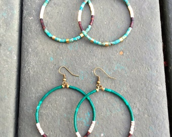 Stone and shell hoop earrings