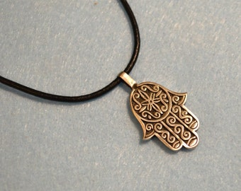 Leather Surfer Necklace With Pewter Hamsa Fatima Hand Life Beach Jewelry