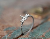Delicate Little Dragonfly Stacking Ring. Sterling silver damselfly ring. Springtime insect ring.