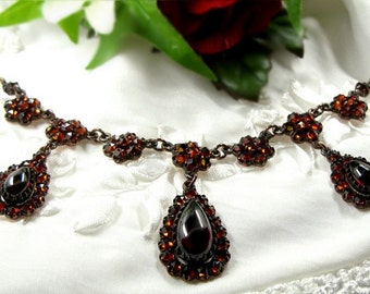 Impressive Vintage garnet necklace Sterling goldplated Victorian style || ГРАНАТ