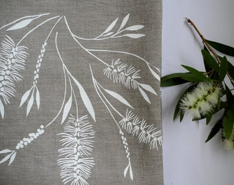 Linen Tea Towel Screen Printed Linen Tea Towel Hand Printed Dish Cloth White&Natural Australian Bottlebrush