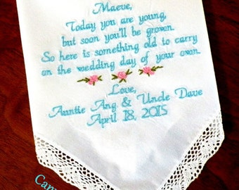 Embroidered Wedding Handkerchierf, FLOWER GIRL, Wedding Gift, By Canyon Embroidery