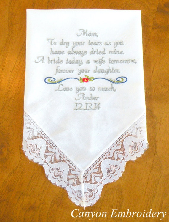 Embroidered wedding handkerchief mother of the by