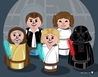 Star Wars New Hope Little People 10x8 Print