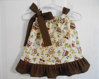 Girls Owl brown mustard green pillowcase dress with ruffle of your choose of color infant thru size 6