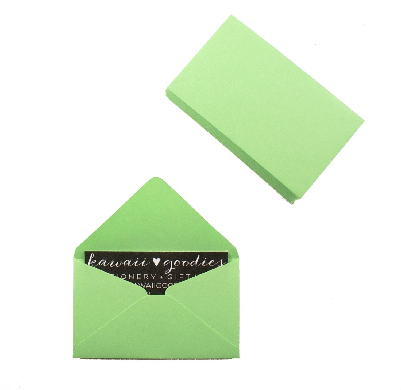 Business card envelopes 25 light green envelopes 2 1 8 x 3