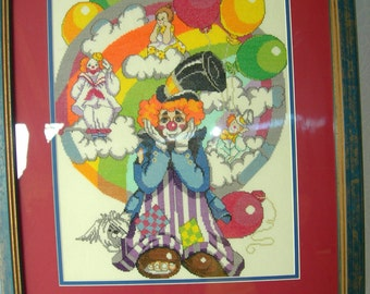 "Counted Cross Stitch Framed Clown Art @ 24"" x 20""-Very Very Cute"
