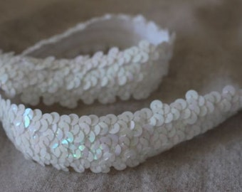 pearly WHITE spotlight Stretch sequins