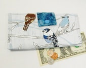Bird Wallet, Blue Clutch, Womens Wallet, Batik Vegan Wallet, Handmade Wallet