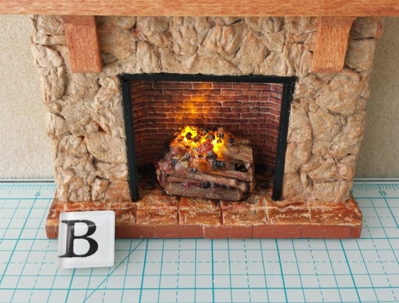 dollhouse battery operated fireplace lit logs with