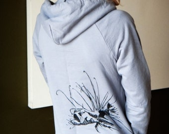 Grey hoodie dress, angler fish silkscreen