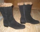 Ferragamo boots black suede fur mink