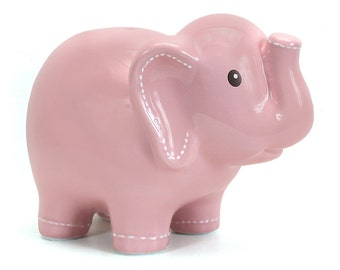 Personalized Large Pink Elephant Piggy  Bank Newborns , Birthday, Girls, Flower Girl,Baby Shower Gift Centerpiece
