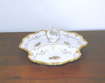 Reichenbach Divided Dish - White Porcelain With Gold Accents - German Democratic Republic