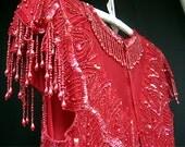 Vintage  Laurence Kazar RED SILK Beaded & Sequin Dress, 1980's