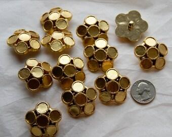 12 Gold Shank Back Buttons, Add a Gem Buttons (AJ 21)
