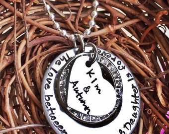 Personalized Hand Stamped The Love Between a Mother and Daughter
