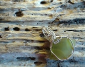 Lime green seaglass pendant Ameythst gemstone accent