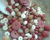 Sponge coral red bead mix with wood and bone