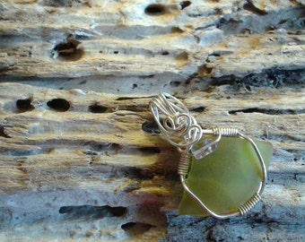 Lime green seaglass pendant Ameythst gemstone accent Sale!