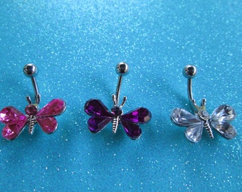 SALE body jewelry   butterfly belly button ring