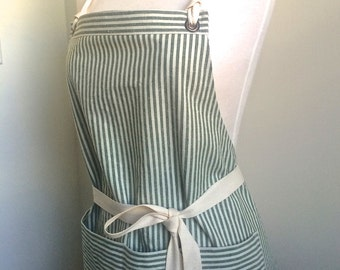 Full Apron Woman Hemp Apron Organic Cotton apron hemp cotton apron  Green Stripes  Custom Apron