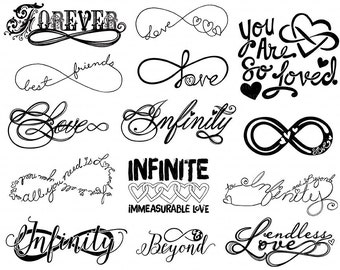 Love ClipArt, Infinity Word Art, Printable Digital Stamps, Forever Infinite Love Quote, Valentine Graphics, Wedding ClipArt, DIY Decals