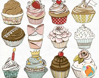 Pink Cupcake ClipArt, Girl Birthday Party Digital Graphics, Anniversary Party Bakery Sweets Images Download, Wispy Clip Art