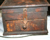 Primitive Antique Wooden Lidded Box forged Metal Handmade Latch Wood Knob  Drawer Pine Oak