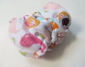 One Size Bamboo Fitted Hybrid Cloth Diaper pink mermaids CLEARANCE