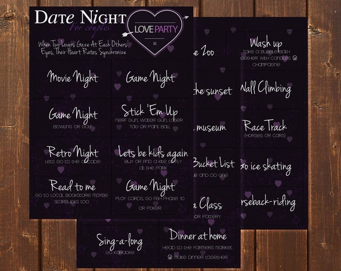 Date Night Idea Cards | 28 different cards | Printable | Instant download | Valentine's day | Date night | Anniversary