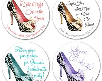 High Heel Shoes Personalized Bachelorette Stickers Round Glossy Stickers Favor Labels 2 Inch or 2.5 Inch or 3 Inch