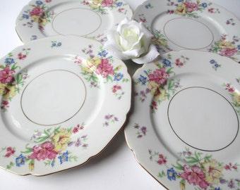 Vintage Salad Plates Heinrich Strasbourg Wanamaker Floral Set of Four