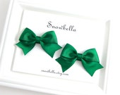 St Patrick's Day Emerald Hair Bow Clips Pigtail Pairs Green