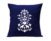 Throw Pillow - Swedish Kurbits with Dala Horses in Navy Blue - Decorative Cushion - Handmade Pillow Cover in Swedish Design