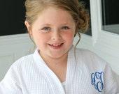 Flower Girl robe Jr. Bridesmaid monogrammed embroidered waffle weave kids robe