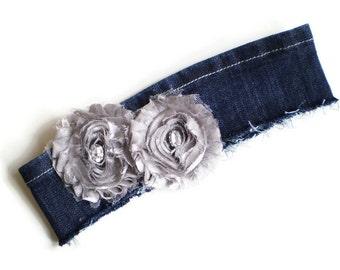 Dark Blue Denim Headband, Recycled Denim Headband, Denim Headband with Silver Flowers