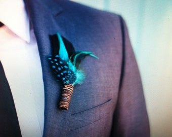 Feather Grooms Boutonniere