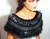 Crochet Black And Gray Capelet Bridal Bolero Shrug Wrap Shawl Fall Fashion, Lace Fashion, Winter Accessories