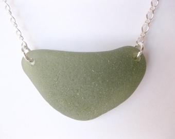 SS Large Fall Sea glass jewelry beach glass jewelry SS sea glass pendant  I love jewelry