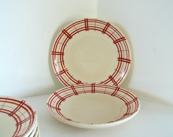 "Set of SIX (6) Retro-EuroCeramica ""Plaid"" Plates"