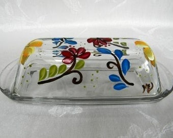 Butter dish, hand painted butter dish, painted flowers