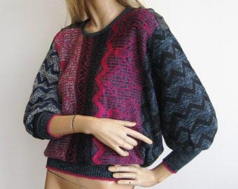 Vintage 80s La Squadra Slouchy Italian Mohair Knit Dolman Sleeve Sweater M