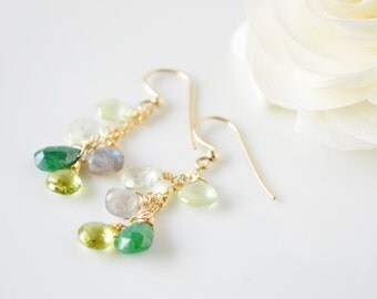 Green & Gold Gemstone Briolette Cluster Earrings