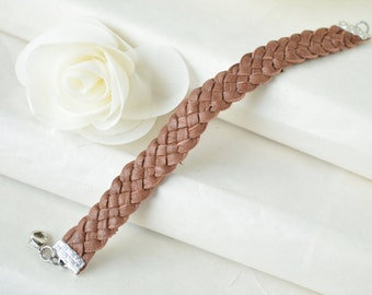 Chocolate Braided Deerskin Leather Cuff Bracelet - 5 Strand - Bohemian - Layering