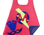 Super Hero Cape Set for Kids - Personalized Gift - Choose the Initial - Includes Cape + Bolt Mask + Power Gloves - Kids Gift