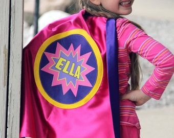 Free mask sale - Personalized Full NAME SUPERHERO Cape - Custom POW Design - Includes full name in burst design - Fast Delivery