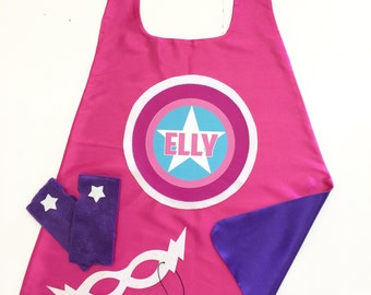 Girls Super Star Full Name Customized Cape Set - PERSONALIZED Cape plus Star Fingerless Gloves and Super Hero Mask - Easter ready